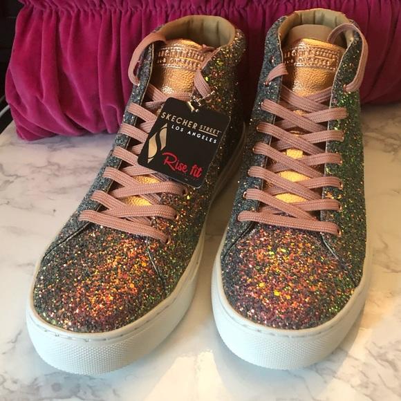 3da9985706d Sketchers Glitter Sneakers Rose Gold Multi 9.5